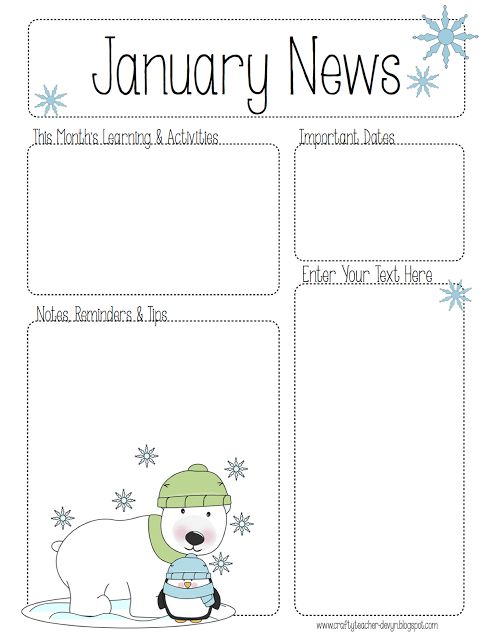 January Newsletter for ALL Grades! Preschool, Pre-K, Kinder, etc ...