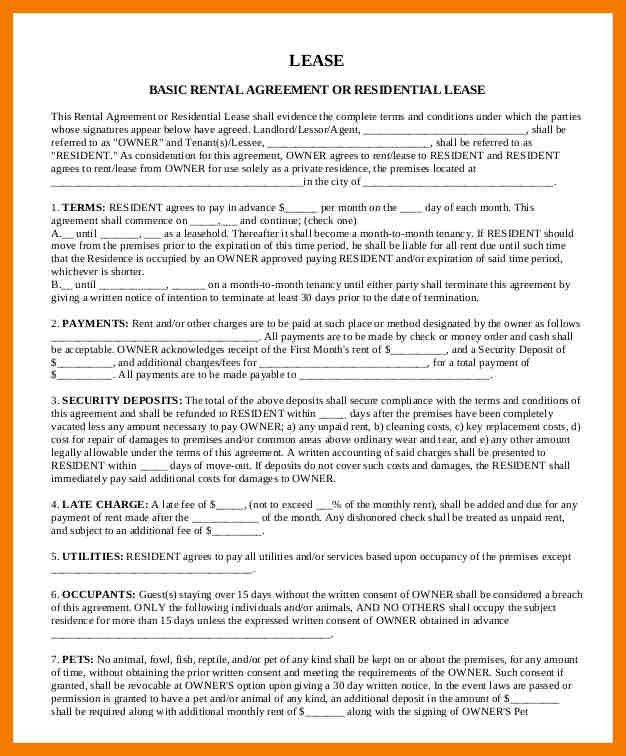 Basic Rental Agreement. Residential Lease Or Month To Month Rental ...