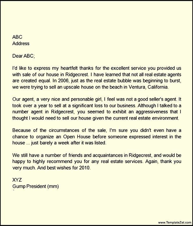 Personal Recommendation Letter For House Agent | TemplateZet