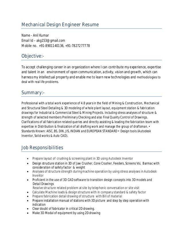 mechanical design engineer resume sample engineer resume example