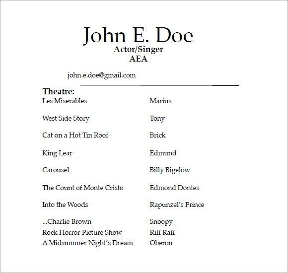 Sample Theater Resume. acting resume example actors resume with no ...