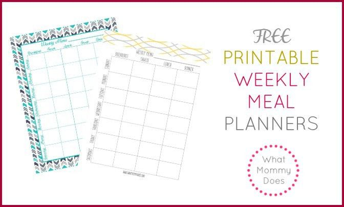 Free Printable Weekly Meal Plan Template - What Mommy Does