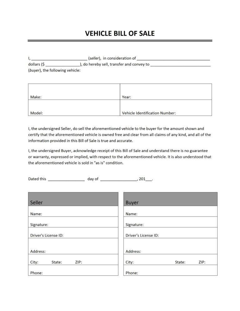 Bill Of Sale Word Document : Vlashed