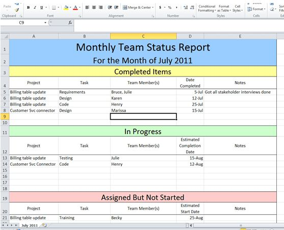 Project Management Portfolio Status Report Template ...