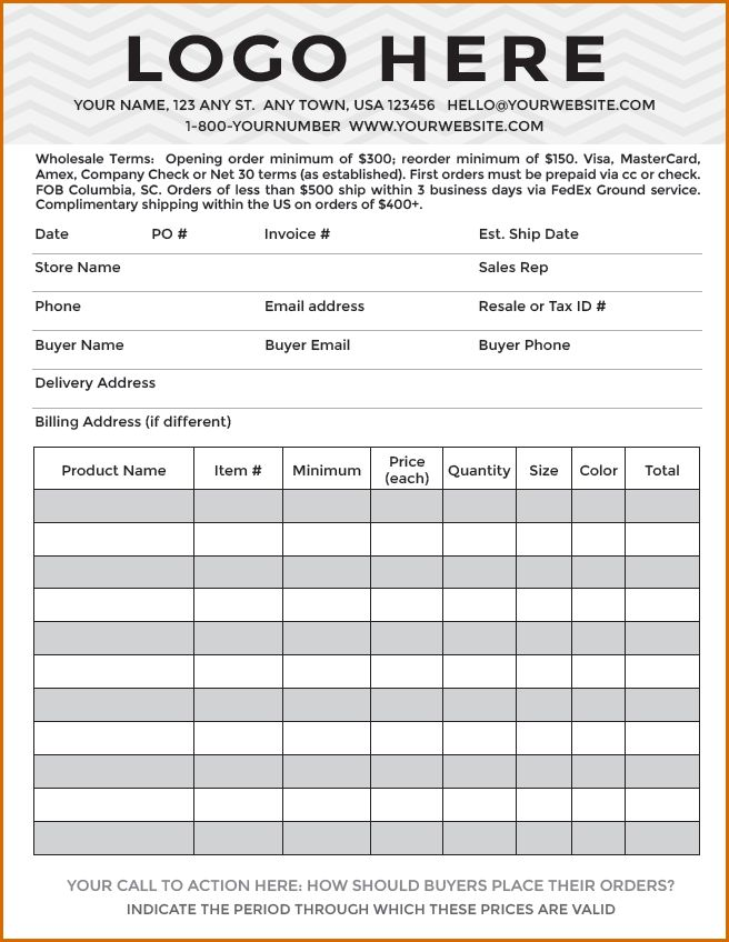 8+ order forms template | Authorizationletters.org