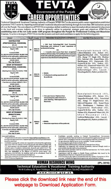 TEVTA Jobs April 2017 Application Form Instructors & Shop ...