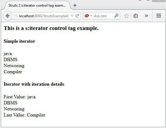 Struts2 iterator example | Tutorialspoint examples