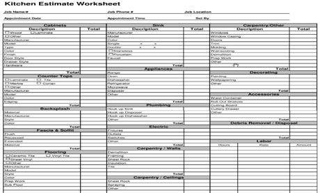 Estimating Template - Kitchen Cost Estimate Worksheet