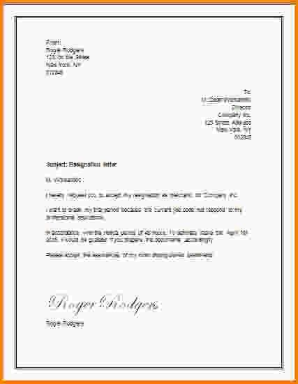 11+ resignation letter template word | Letter Template Word