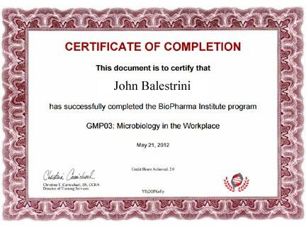 Sample BioPharma Institute Certificate – BioPharma Institute