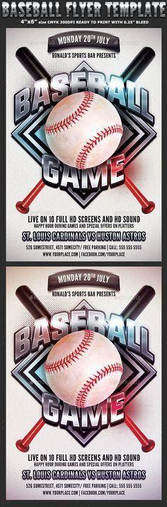 Baseball Game flyer template   Baseball games, Flyer template and ...