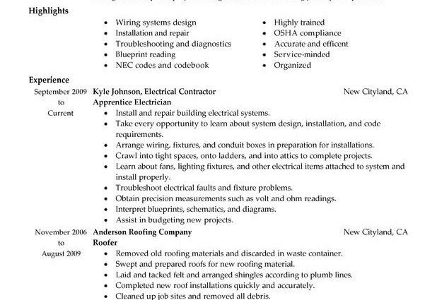 Electrician Job Description Resume | RecentResumes.com