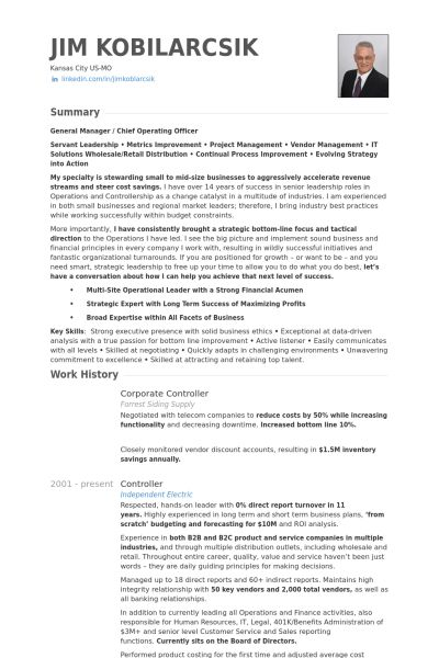 Corporate Controller Resume samples - VisualCV resume samples database
