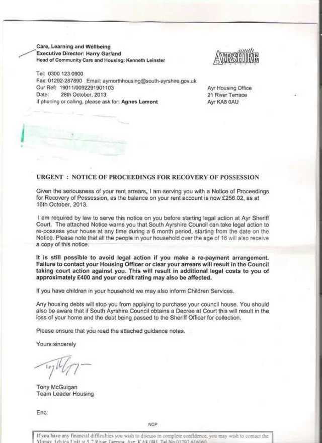 Eviction letter from South Ayrshire Council threatening eviction ...