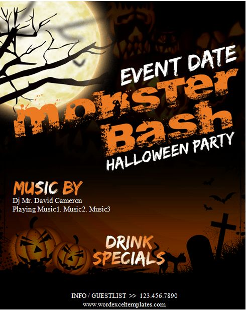 MS Word Halloween Party Flyer Templates | Word & Excel Templates