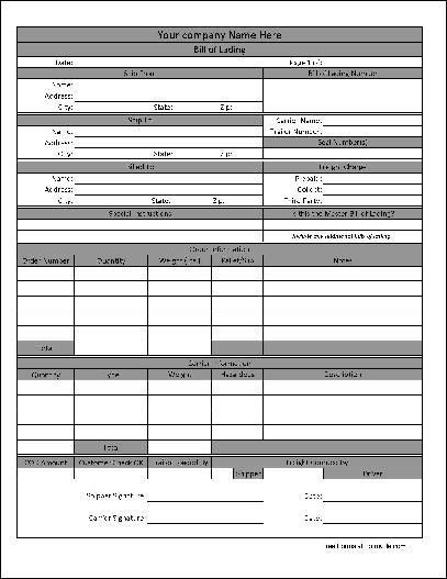 Printable Sample Bill Of Lading Pdf Form | Real Estate Forms Word ...