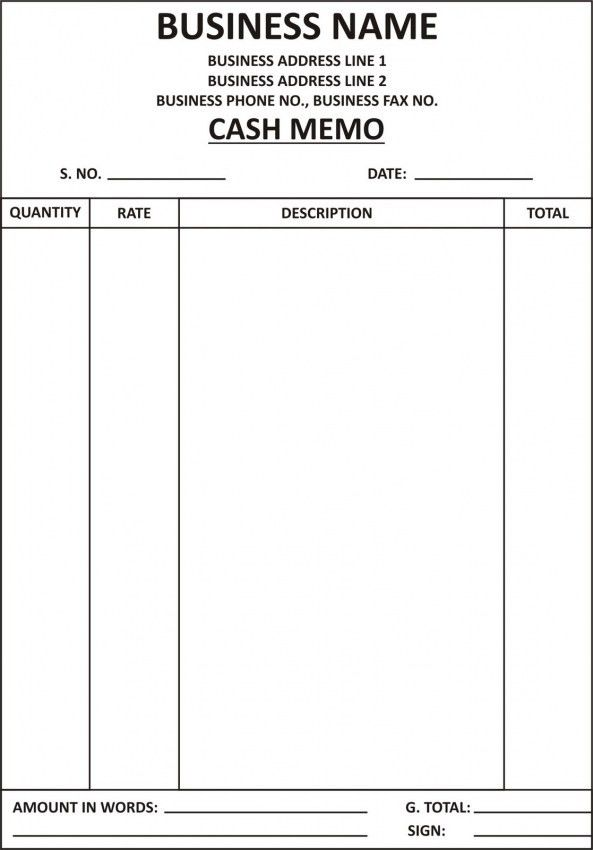 Simple Bill Book Format | Design Invoice Template