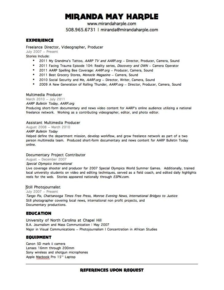 Download Videographer Resume Sample | haadyaooverbayresort.com