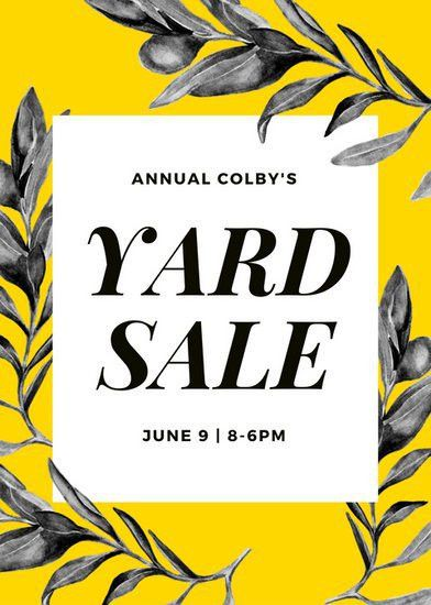 Yellow Olive Branch Yard Sale Flyer - Templates by Canva