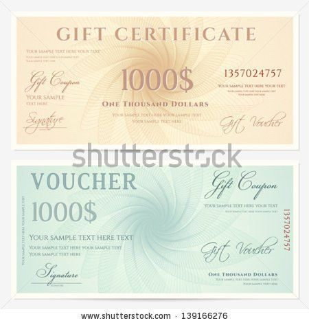 Gift Certificate Voucher Coupon Template Guilloche Stock Vector ...