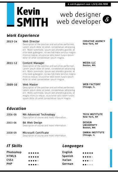 WEB DESIGNER Resume Template - Trendy Resumes