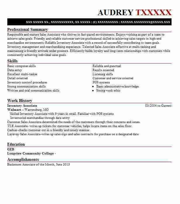 Best Inventory Associate Resume Example   LiveCareer