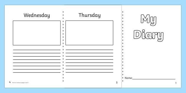 7 Day Diary Writing Frame - 7 day diary, writing frame, diary