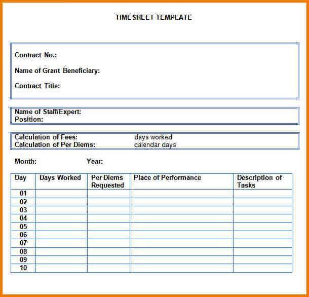 free timesheet template word