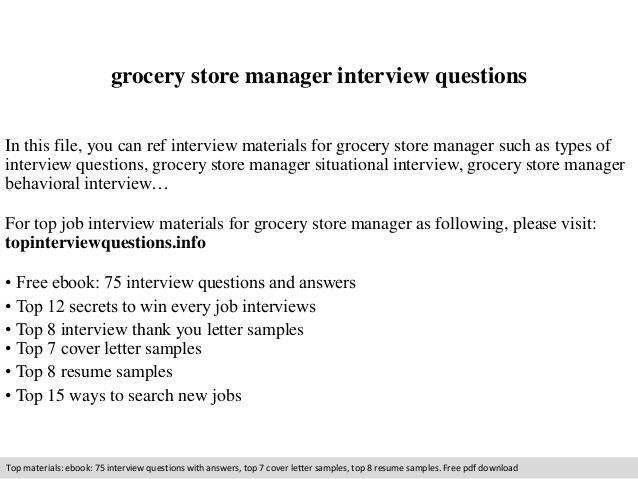 Grocery store manager interview questions