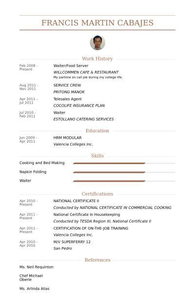 Food Server Resume samples - VisualCV resume samples database
