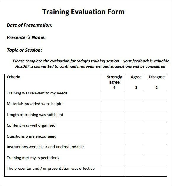 Training Evaluation Form Sample U2013 8+ Free Examples U0026 Format