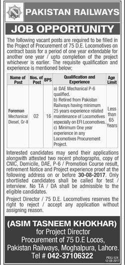 Jobs In Pakistan Railways Accounts Department 20 Aug 2017