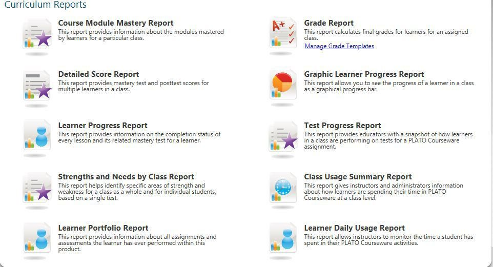 What Reports Are Available in Plato Courseware? - Edmentum Support