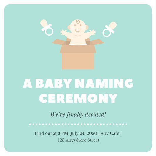 Mint White Bordered Baby Naming Ceremony Invitation - Templates by ...