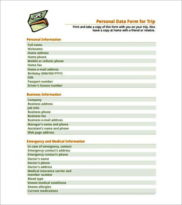 Example Personal Data Form Travelling Schedule Template | TemplateZet
