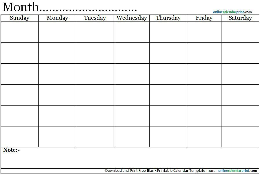 Blank Calendar Template. September 2017 Printable Calendar .