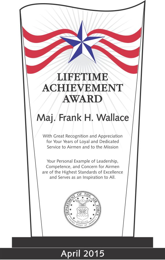Air Force Lifetime Achievement Award (#314 2) | Wording Ideas .  Excellence Award Wording