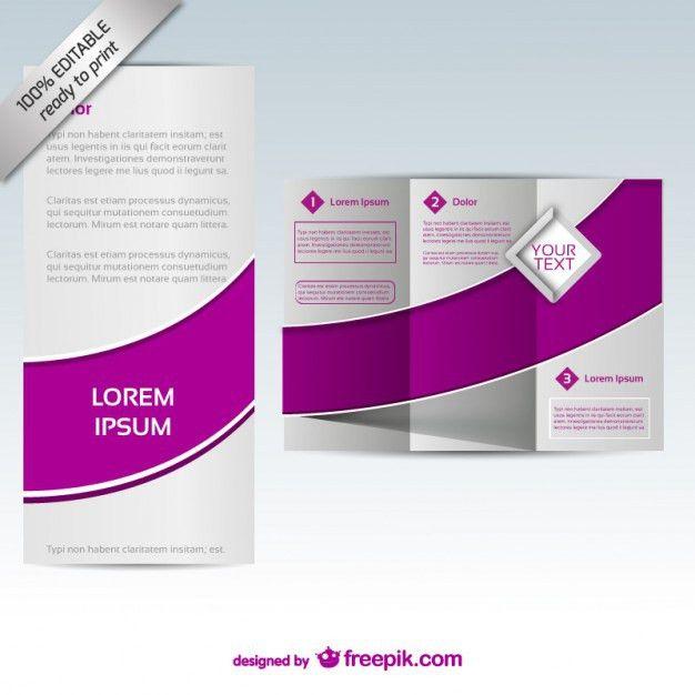 Purple tri-fold brochure template Vector | Free Download