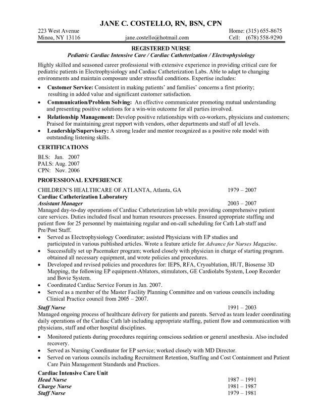 sample resume rn resume cv cover letter sample resume for nurse ...