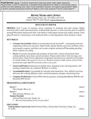 Sample Resume for a Food Service Position - dummies