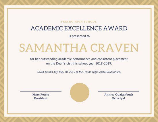 academic award template