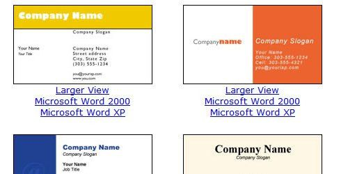 free microsoft word business card template
