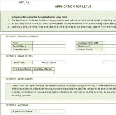 Application for Leave Form