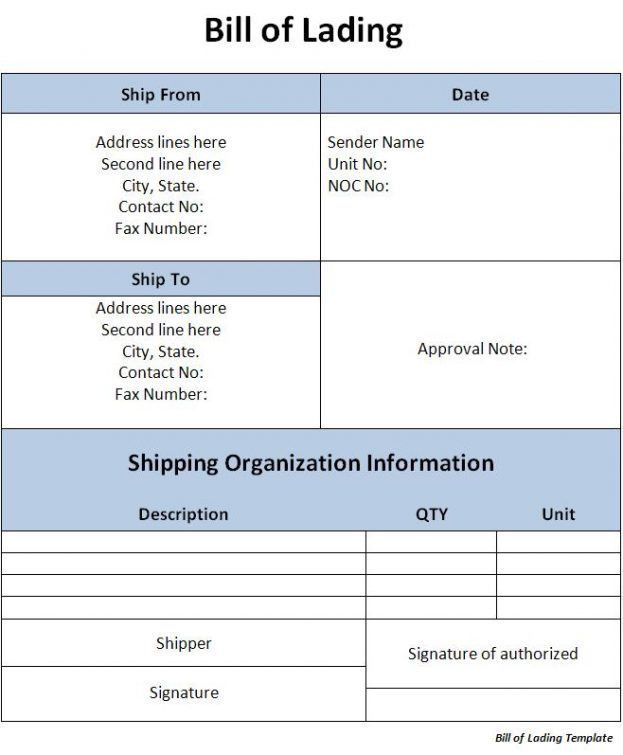 Excel Bill Of Lading Template Bill of Lading Document : Selimtd