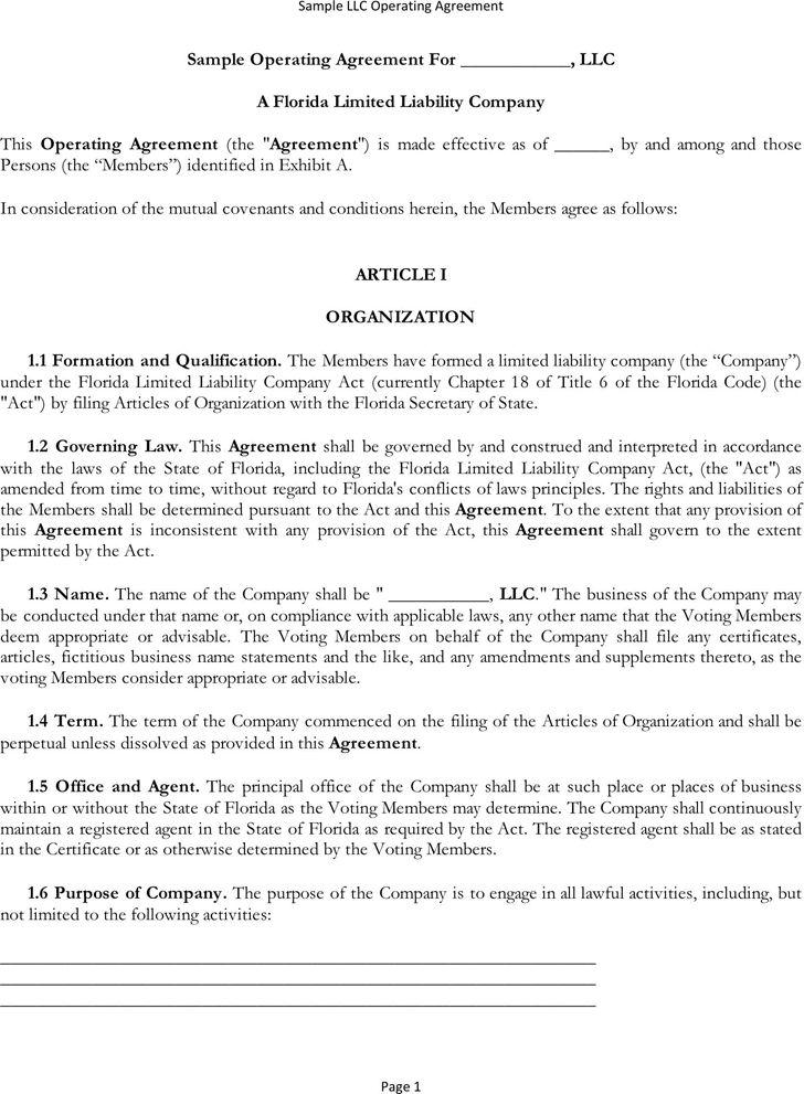 download texas llc operating agreement template llc partnership ...