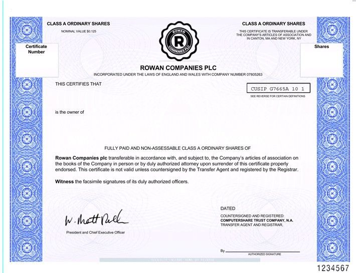 Form of Share Certificate for Rowan Companies plc.