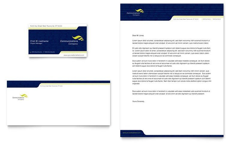 Global Communications Company Business Card & Letterhead Template ...