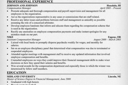 Compensation Manager Resume Samples - Reentrycorps