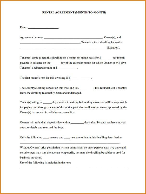 Simple Rental Application.simple Rental Agreement Month To Month .