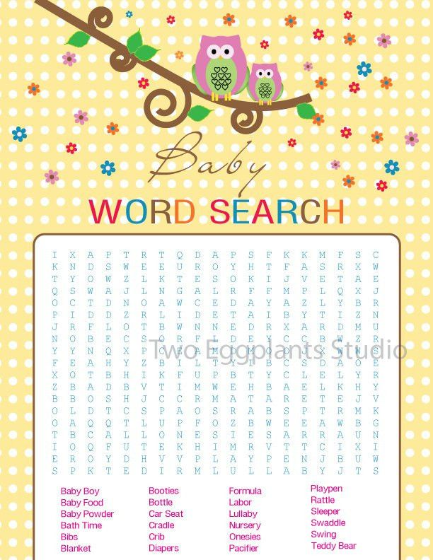 owl baby shower printable word search game inspirations baby owl ...